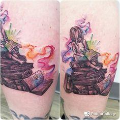 Watercolor book tattoo by Kaitlin Matthews @cakelintattoos