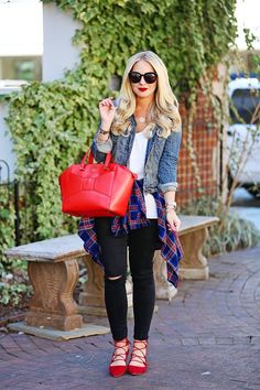 Red Lace-Up Flats Outfit