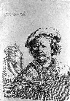 Self-Portrait in a Flat Cap with Embroidered Dress by Rembrandt van Rijn