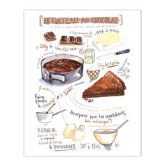 "Chocolate cake recipe print ( french handwriting ) Archival giclee print of my watercolor illustration. Format: Vertical. Signed with pencil. Printed on fine art "" BFK Rives "" hot-pressed paper, smoot"