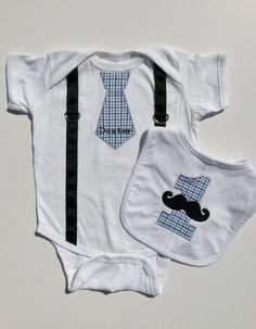 First Birthday Boy Onesie Tie and Suspenders With 1st Birthday Mustache Bib - Choose Fabric via Etsy