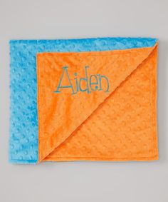 Take+a+look+at+the+Lolly+Gags+Orange+&+Blue+Personalized+Stroller+Blanket+on+#zulily+today!
