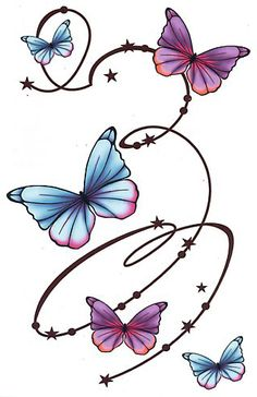 "Butterfly with Swirls Temporary Tattoos. Our Butterfly with Swirls Temporary Tattoo measures 4.5"" x 7"" temporary tattoo contains blue and purple butterflies. Butterfly Temporary Tattoos are extremely popular and we have the best designs all in one place. Temporary Tattoos with Butterflies are always a perfect choice. We invite you to come on over to our facebook page and like us for more updates and specials. http://www.facebook.com/pages/sexytemporarytattooscom/245799178856323"