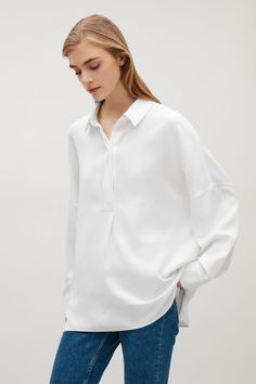 COS image 7 of Oversized shirt in White