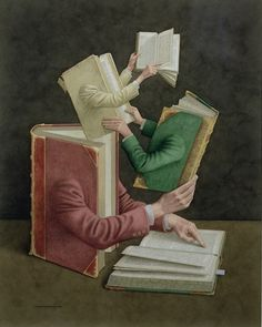 JONATHAN WOLSTENHOLME (b. 1950) is an British painter & illustrator best known for his amazingly detailed works derived from a love of old books & of the paraphernalia associated with a bygone age whose hallmarks were finely skilled labour & exquisite craftsmanship in the production of all manner of objects. BOOKS ON BOOKS is a series of illustrations in which the book world is being described by… the books / Seen here: ''Cross References'', 2003
