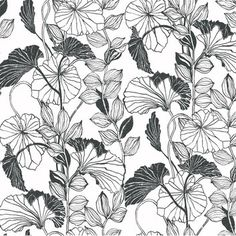 """You'll love the Black and White Leaf Outline 27' x 27"""" Floral and Botanical Roll Wallpaper at Wayfair.ca - Great Deals on all Décor  products with Free Shipping on most stuff, even the big stuff."""