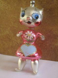 Vintage Hand Blown Glass Italy Kitty Cat Italian Christmas Tree Ornament Holiday | eBay