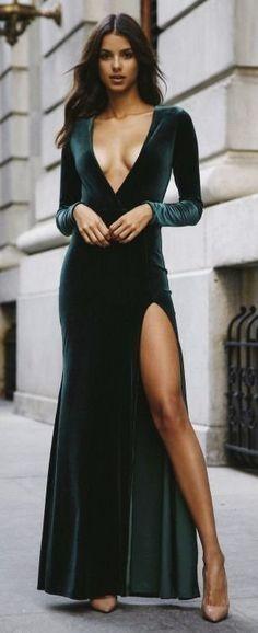 Velour Maxi v-neck dress