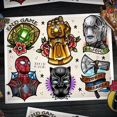 Infinity War tattoo flash sheet by me! The movie was so insane I hope I did it j… Infinity War tattoo flash sheet by me! The movie was so insane I hope I did it justice! Spiderman Tattoo, Avengers Tattoo, Marvel Tattoos, Marvel Art, Marvel Heroes, Marvel Avengers, Funny Avengers, Ps Wallpaper, Tattoo Flash