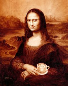 Gallery of art created using only coffee by Karen Eland. Masterpieces like Mona Lisa as well as original latte art, coffeehouses, and more. Enjoy your visual coffee break! I Love Coffee, Coffee Art, Coffee Break, Espresso Coffee, Coffee Life, Happy Coffee, Brown Coffee, Black Coffee, Morning Coffee