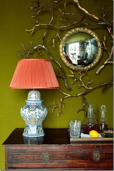 Polychrome Delft Lamp - Charlotte Moss Love the wall color-MOSS and the branching details of the mirror with the gold Chartreuse Decor, Pantone, Green Rooms, Green Walls, Interior Decorating, Interior Design, My Living Room, New Room, Wall Colors