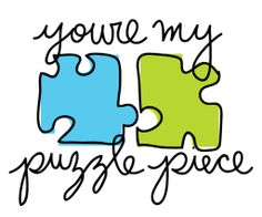 Puzzle Piece. Pretty & Fresh greeting card. #love