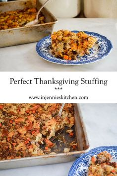 Perfect Thanksgiving Stuffing filled with pork breakfast sausage, chestnuts, apples, seasoned with thyme & fennel. Recipe is at In Jennie's Kitchen.