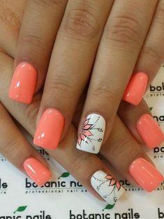 Cute Nail Art Designs, Long Nail Designs, Coral Nail Designs, Diy Nails, Manicure, Nail Nail, Nail Polish, Uñas Color Coral, Coral Nails With Design