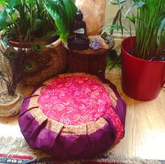 zafu meditation cushion pillow with 100 organic buckwheat hulls handmade