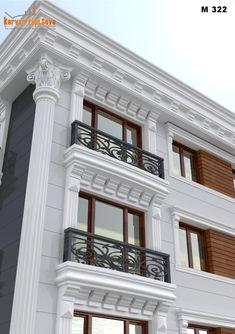 Railing Design, Facade Design, Exterior Design, Classic House Exterior, Classic House Design, House Outside Design, House Front Design, Cornice Design, Window Design