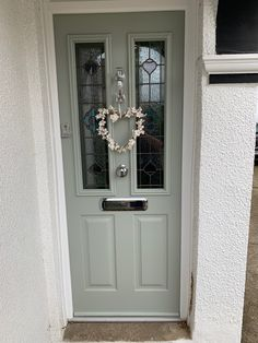 Painswick Green Ludlow Solidor Door by Wright Glazing Official Installer - Dorchester Glass Cottage Front Doors, Green Front Doors, Front Doors With Windows, House Front Door, House Front Design, Front Door Colors, Glass Front Door, House Doors, House Entrance