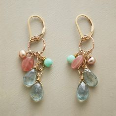 """PRIMAVERA EARRINGS--This handcrafted earrings brings together semiprecious gems in a fresh and unexpected combination—tawny pearls and shimmering labradorite, blue-green chrysoprase, rhodochrosite's subtle warmth and sparkling drops of faceted aquamarine. 12kt and 14kt gold-filled beads/wires. USA. Exclusive. 2""""L."""