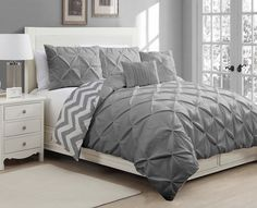 Amazon.com - Geneva Home Fashion 5-Piece Ella Pinch Pleat Duvet Set, Queen, Grey -