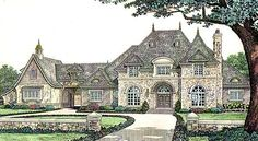Kinda like everything of this one....Elevation of Country   French Country   House Plan 66236