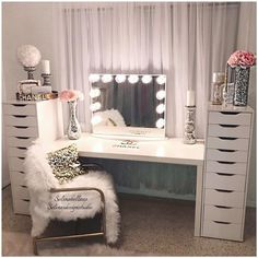 Vanities bedroom furniture vanity mirrors beauty room makeup rooms and glam diy . Diy Vanity Mirror, Vanity Room, Vanity Ideas, Mirror Ideas, Table Mirror, Vanity Set Up, Ikea Vanity, Closet Vanity, Storage Mirror