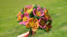 Pretty! I love deep pink and light orange together. French Beaded Flower Bridal Bouquet.