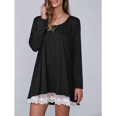 Autumn Lace Lower Hem Casual Dress (125 HRK) ❤ liked on Polyvore featuring dresses, lace dress and lacy dress