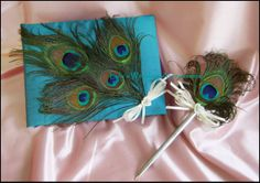 Peacock Feather Guest Book and Pen by All4Brides, $65.00