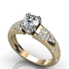 Women's Diamond Engagement Ring - This is a beautiful 1.50 carat Women's Diamond Engagement Ring stamped in 14k White Gold. It features White Diamonds all within a prong setting & the total width is 8mm with 40 accent side stones. It has a very good cut & the stones are E-F in color quality & an SI1-SI2 in diamond clarity. All of the diamonds are 100% natural & treated. #unusualengagementrings