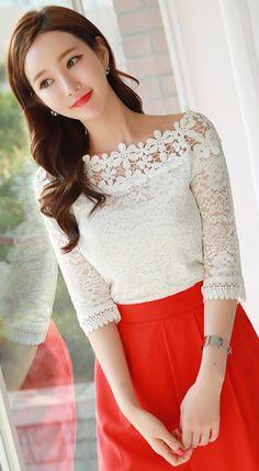 StyleOnme_Floral Lace Off-Shoulder Blouse Tee #white #ivory #offshoulder #floral #lace  #feminine #blouse #spring #kstyle #koreanfashion #kfashion #seoul #elegant #trend