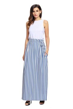 Women Clothing Designers The Best Light Blue Striped Maxi Skirt – modilys Maternity Maxi Skirts, Striped Maxi Skirts, Fashion Lighting, Spandex, Lingerie Sleepwear, Unique Fashion, Latest Fashion, Fashion Prints, Blue Stripes