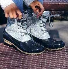 KCPer Womens Glitter Duck Short Boots Lace Up Waterproof Low Heel Winter Snow Rain Shoes Casual Sparkling Ankle Bootie Shoes, Lace Up Ankle Boots, Ankle Booties, Heeled Boots, Flat Boots, Rain Shoes, Boot Bling, Ballet, Casual Heels, Duck Boots