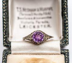 1920s 18K White Gold Amethyst Ring William's birth stone