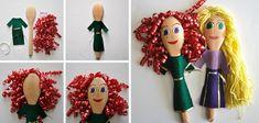 Marionetas caseras con cucharas de madera: Rapunzel y Mérida