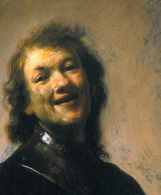 The Young Rembrandt as Democritus the Laughing Philosopher in detail, ca. 1628. oil on copper. 22.2 × 17.1 cm (8.7 × 6.7 in). Private collection.