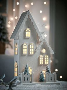 NEW Three Scandi Tea Light HousesYou can find Tea houses and more on our website.NEW Three Scandi Tea Light Houses Christmas Village Houses, Christmas Village Display, Putz Houses, Christmas Villages, Tea Houses, Christmas Stall Ideas, Christmas Trends, Christmas Projects, Christmas Home