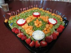 Baseball birthday field fruit tray