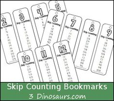 Free Skip Counting Bookmarks - Number 2 through 12 skip counting 12 times - 3Dinosaurs.com