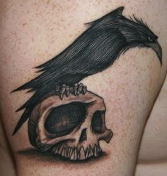 Obsessed with this illustrative style. #InkedMagazine #raven #skull #tattoo #illustrative #inked #ink #art #cool