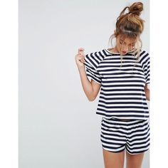 ASOS Breton Stripe Tee & Short Pyjama Set ($30) ❤ liked on Polyvore featuring intimates, sleepwear, pajamas, multi, cotton pyjamas, cotton pajamas, asos, asos pjs and short pajama set