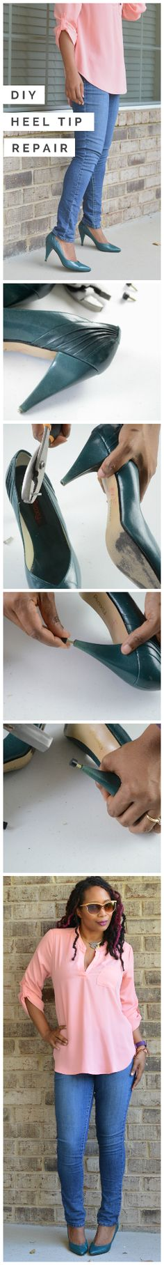 diy heel tip repair, fixing broken high heel caps, easy to do at home saving time and money, fix vintage thrift store shoes | Thriftanista in the City