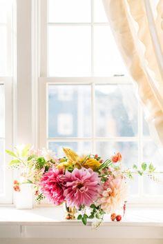 Pink and gold floral arrangement: http://www.stylemepretty.com/living/2015/05/09/17-fabulous-diy-flower-arrangements/