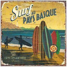 Vintage Illustrations Art Print: Surf Pays Basque by Bruno Pozzo : - Vintage Tin Signs, Vintage Labels, Vintage Ads, Vintage Images, Vintage Posters, Vintage Decor, Surf Biarritz, Vintage Surfing, Diy Image