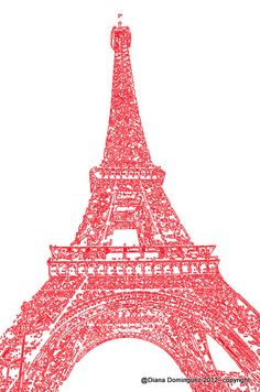 Eiffel Tower in Red - Paris Sketch 8x10 Abstract Drawing. $40.00, via Etsy.