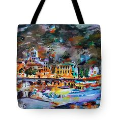 """#Cinque #Terre #Monterosso #Italy At #Night #Seascape #Tote #Bag (18"""" x 18"""") by #Unique #Fine #Art #Artist #GinetteCallaway #Ginette #Callaway. The tote bag is machine washable, available in three different sizes, and includes a black strap for easy carrying on your shoulder.  All totes are available for worldwide shipping and include a money-back guarantee."""