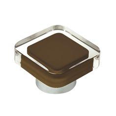 pomo tirador metacrilato con pintura intectada marron modelo 697MA para mueble de salon y cocina