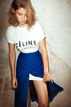 logomania * celine * paris * white tee * graphic tee * deep blue * high waisted * maxi skirt * style