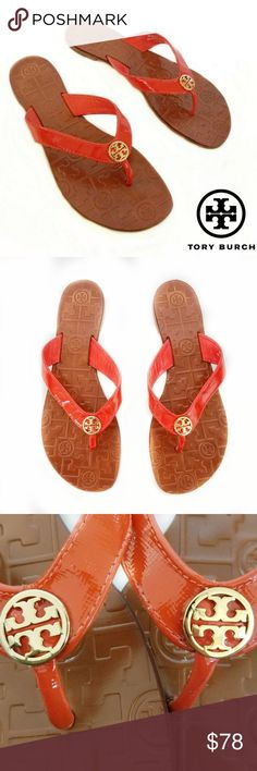 Like New! Tory Burch Thora Patent Thong Sandal Like New! Tory Burch Thora Patent Thong Sandal Sz 7. I believe this color is called Tory Red, it is a deep orange. These fabulous sandals are in excellent like new condition. Niece tried to wear them but they are too big for her sadly. I do not have the box. Tory Burch Shoes Sandals