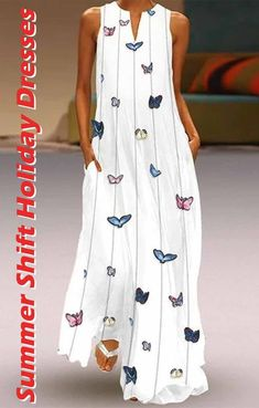 Butterfly Printed Maxi Shift Dress style fashion,pretty casual dresses,tshirt d. White Maxi Dresses, Elegant Dresses, Women's Dresses, Dresses Online, Dress Outfits, Casual Dresses, Fashion Dresses, Summer Dresses, Printed Dresses