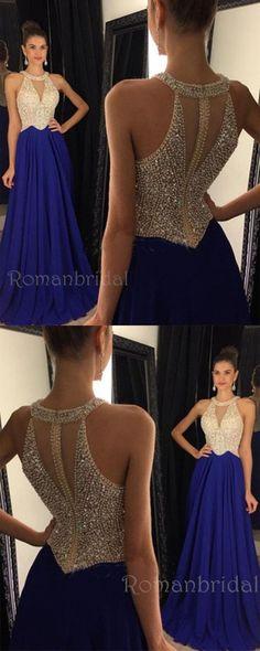 Floor-length Royal Blue A-line Round Neck Chiffon Beaded Long Prom Dress, PD0498 #longpromdresses
